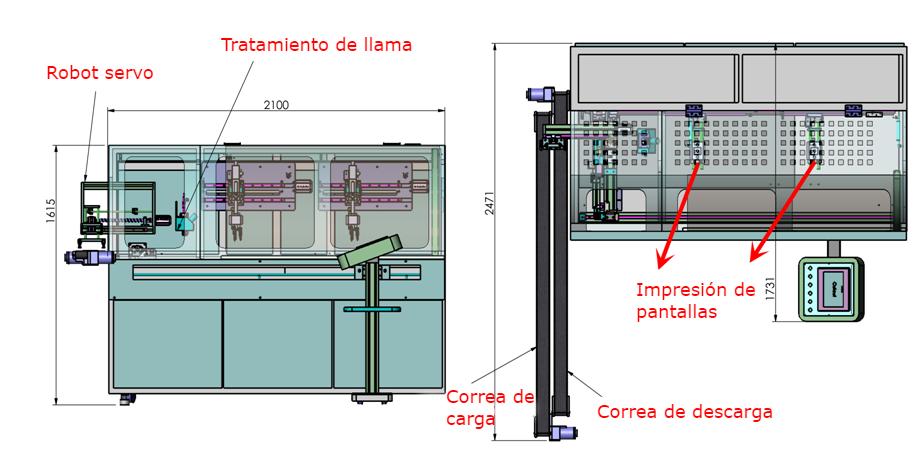 Plano técnico de la máquina automática de serigrafía A-2401SM